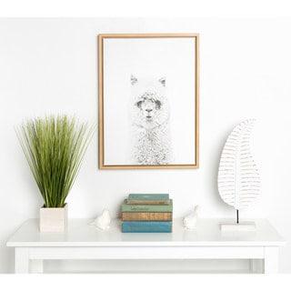 DesignOvation Sylvie Hairy Alpaca Black and White Portrait Natural Framed Canvas Wall Art by Simon Te Tai