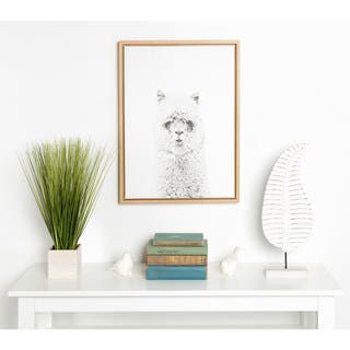 DesignOvation Sylvie Hairy Alpaca Black and White Portrait Natural Framed Canvas Wall Art by Simon Te Tai