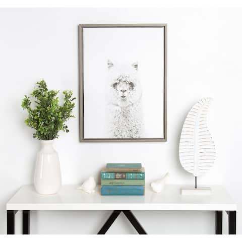 DesignOvation Sylvie Simon Te Tai 'Hairy Alpaca' Black and White Portrait Grey Framed Canvas Wall Art