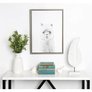 DesignOvation Sylvie Simon Te Tai 'Hairy Alpaca' Black and White Portrait Grey Framed Canvas Wall Art|https://ak1.ostkcdn.com/images/products/14767980/P21291304.jpg?impolicy=medium