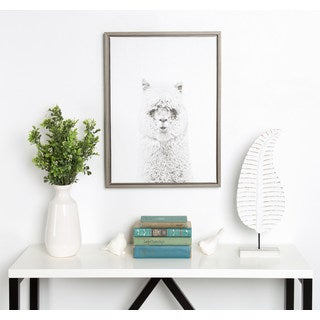 DesignOvation Sylvie Simon Te Tai 'Hairy Alpaca' Black and White Portrait Grey Framed Canvas Wall Art
