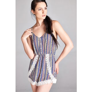Spicy Mix Hallie Lace-accent Tie-back Striped Romper