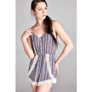 Spicy Mix Hallie Lace-accent Tie-back Striped Romper (More options available)