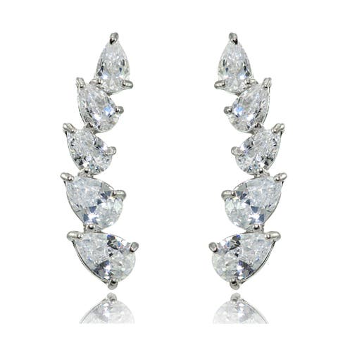 Sterling Silver Pear-cut Cubic Zirconia Climber Crawler Earrings