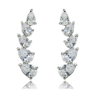 Sterling Silver Pear-cut Cubic Zirconia Climber Crawler Earrings|https://ak1.ostkcdn.com/images/products/14768047/P21291417.jpg?impolicy=medium