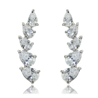 Sterling Silver Pear-cut Cubic Zirconia Climber Crawler Earrings (3 options available)