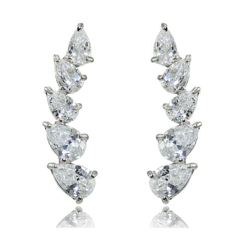 Sterling Silver Pear-cut Cubic Zirconia Climber Crawler Earrings