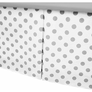 American Baby Company White/Grey Dots Cotton Percale Pleated Crib Skirt