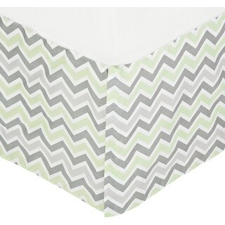American Baby Company Grey Cotton Percale Celery Zigzag Pleated Crib Skirt