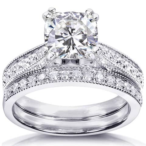 Annello by Kobelli 14k White Gold 1 2/5ct TGW Moissanite and Diamond Antique Style Bridal Rings Set