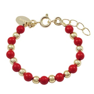 Luxiro Gold Finish Red Shell Pearl Strand Children's Bracelet (2 options available)