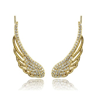 Sterling Silver Cubic Zirconia Climber Crawler Wing Earrings