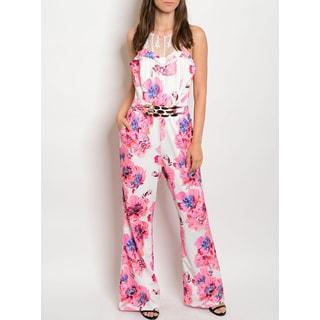 JED Women's Floral Print Wide Leg Halter Jumpsuit