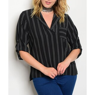 JED Women's Black and White Pin Striped Plus Size Shirt