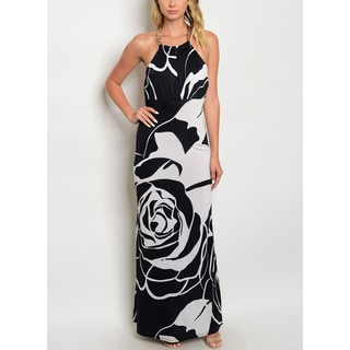 Jed Women's Floral Black and White Halter Maxi Dress