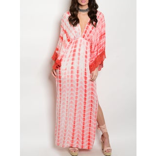 JED Women's Tie-dye Kaftan Dress with Lace-trim Sleeves and Side Slits