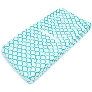American Baby Company Aqua Sea Waves Heavenly Soft Chenille Fitted Contoured Changing Pad Cover