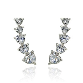 Sterling Silver Heart-cut Cubic Zirconia Climber Crawler Earrings (3 options available)