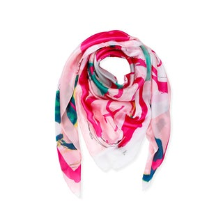 Handmade Saachi Abstract Rose Print Scarf - L (China, People's Republic of)