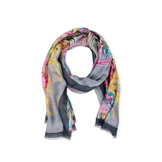 Handmade Saachi Grey Garden Silk Scarf (China)
