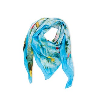 Handmade Saachi Blue Garden Square Silk Scarf (China)