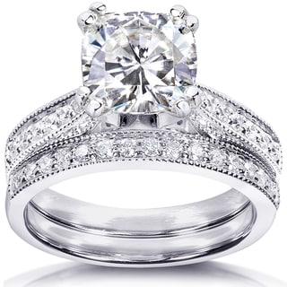 Annello by Kobelli 14k White Gold 2 1/3ct TGW Moissanite and Diamond Antique Style Bridal Rings Set
