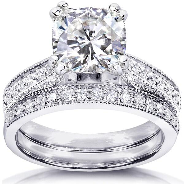 Annello by Kobelli 14k White Gold 2 1/3ct TGW Moissanite (HI) and Diamond Antique Style Bridal Rings Set