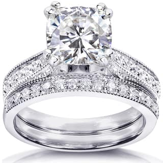 Annello by Kobelli 14k White Gold 2 1/3ct TGW Moissanite (HI) and Diamond Antique Style Bridal Rings Set|https://ak1.ostkcdn.com/images/products/14768436/P21291921.jpg?impolicy=medium