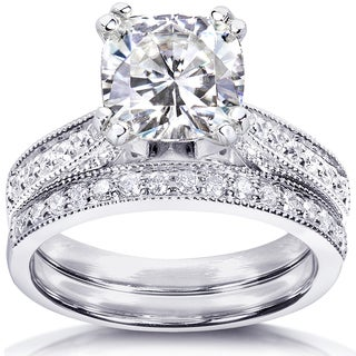 Annello by Kobelli 14k White Gold 2 1/3ct TGW Moissanite and Diamond Antique Style Bridal Rings Set