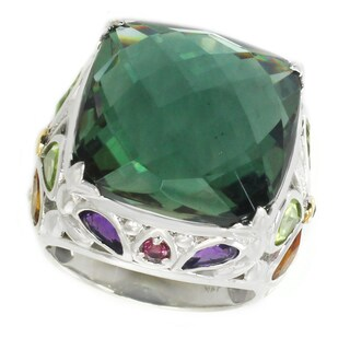 Michael Valitutti Sterling Silver Cushion Green Quartz & Multi Gemstone Ring