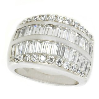 Michael Valitutti Sterling Silver Baguette and Round Cubic Zirconia Ring