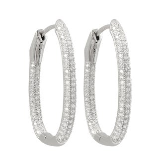Luxiro Sterling Silver Micropave Cubic Zirconia 31x20-mm Oval Hoop Earrings