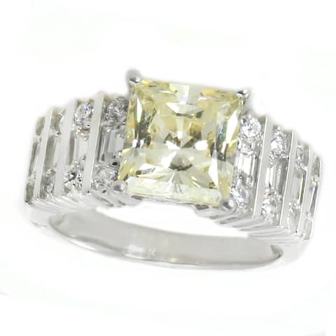 Michael Valitutti Sterling Silver Princess Cut Yellow Cubic Zirconia Ring
