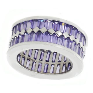 Michael Valitutti Sterling Silver Amethyst CZ Cubic Zirconia Ring