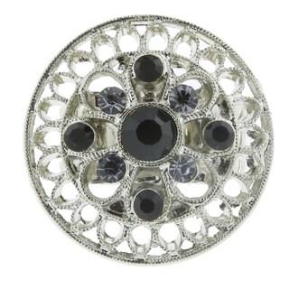 1928 Jewelry Silvertone Black Diamond and Crystal Round Stretch Ring