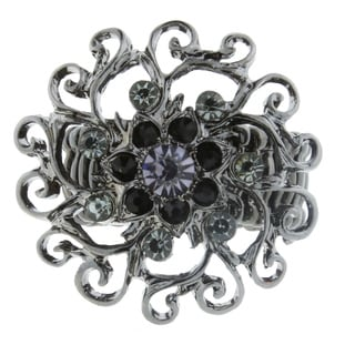 1928 Jewelry Black-Tone Black Diamond and Crystal Flower Stretch Ring