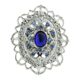 1928 Jewelry Silver Tone Blue Oval Stretch Cocktail Ring