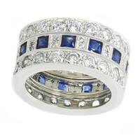 Michael Valitutti Sterling Silver Created Blue Sapphire & Cubic Zirconia Three Set Stacking Ring