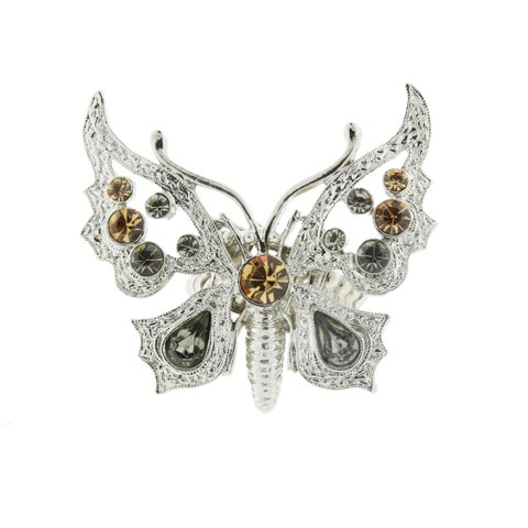 1928 Jewelry Silvertone Light Topaz and Black Diamond Tilted Butterfly Stretch Ring - Silver