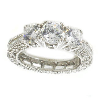 Michael Valitutti Sterling Silver Round and Baguette Cubic Zirconia Three-Stone Ring