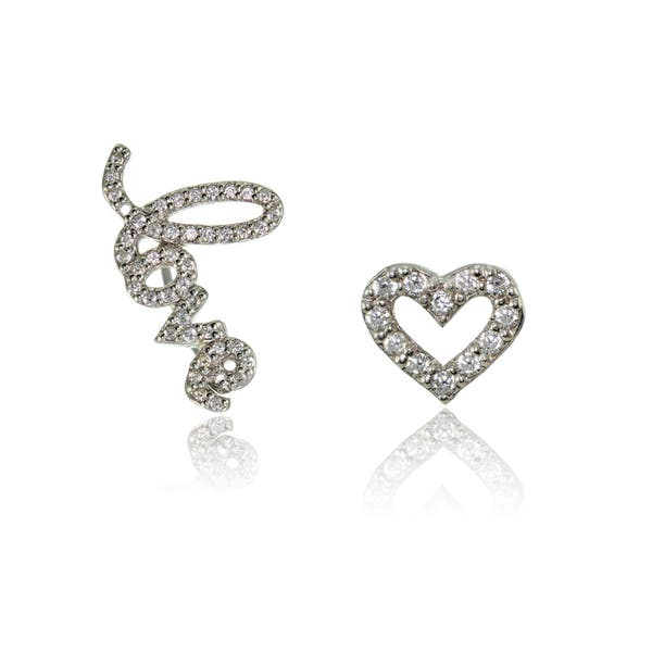 cd6b1f82e Sterling Silver Cubic Zirconia Climber Crawler Love & Heart Earrings