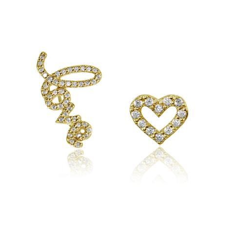 Sterling Silver Cubic Zirconia Climber Crawler Love & Heart Earrings