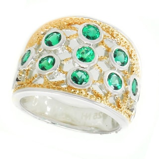 Michael Valitutti Silver Created Emerald Ring