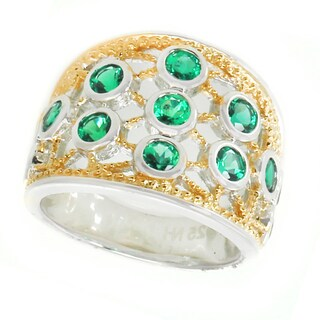 Michael Valitutti Silver Created Emerald Ring
