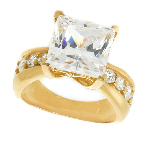 Michael Valitutti Sterling Silver Princess and Round Cubic Zirconia Engagement Ring