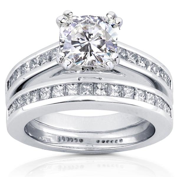 Annello by Kobelli 14k White Gold 2 1/10ct TGW Moissanite (HI) and Diamond Princess Channel Bands Bridal Rings Set