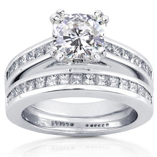 Annello by Kobelli 14k White Gold 2 1/10ct TGW Moissanite and Diamond Princess Channel Bands Bridal Rings Set