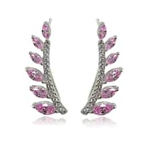 Icz Stonez Sterling Silver Pink Cubic Zirconia Climber Crawler Earrings