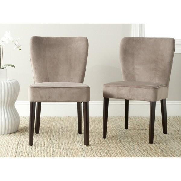 Safavieh Mid Century Modern Dining Clifford Mushroom Taupe Side Chairs Set O