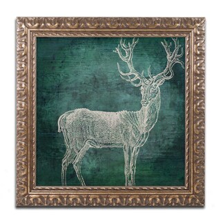 Color Bakery 'Emerald Deer' Ornate Framed Art